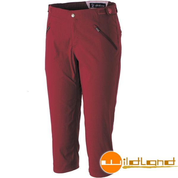 Wildland 荒野 0A31371-18赭紅色 女彈性抗UV合身七分褲