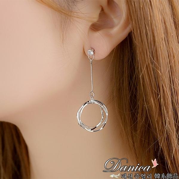 現貨不用等 韓國氣質簡約單鑽幾何圓圈波浪垂墜耳環 夾式耳環 S93147 批發價 Danica 韓系飾品