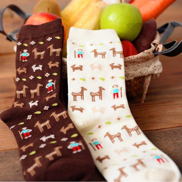 襪子 可愛牧羊人小馬短襪(一雙入)隨機出貨【O2771】☆雙兒網☆