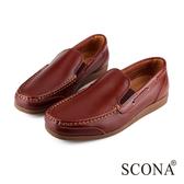 SCONA 全真皮 經典美式手工帆船鞋 咖啡色 1233-1