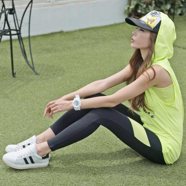 瑜伽服運動彈力連帽外搭背心緊身褲休閒運動晨跑健身套裝   - 10640015