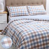 日式色織水洗棉床包枕套組 藍色款