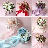 婚紗影樓攝影拍照道具新娘手捧花結婚新款粉紅白仿真韓式婚禮花束  居家物語