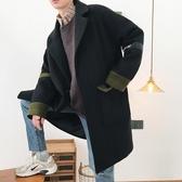 秋冬季風衣男中長款韓版潮流寬鬆男士毛呢大衣青年帥氣呢子外套男叢林之家