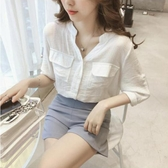 V領襯衫 港味小清新白色襯衫女寬鬆襯衣春夏裝新款韓版超仙V領七分袖上衣 寶貝計書