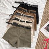 休閒短褲 開叉闊腿休閒褲女新款韓版純色高腰外穿工裝褲短褲配腰帶