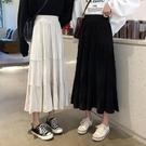 百褶裙女2021新款春季韓版高腰顯瘦百搭蛋糕裙子中長款A字半身裙