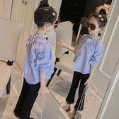 美妞童裝女童條紋襯衫新款中大兒童春季長袖