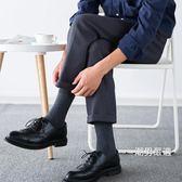西裝襪皮鞋襪子男士四季棉質中筒襪全棉防臭休閒時尚黑色素面商務長襪5雙 聖誕交換禮物