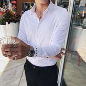 個性刺繡純色青年英倫商務休閒男士長袖素面襯衫 簡約襯衣潮