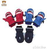 冬兒童加絨手套加厚保暖卡通鯊魚男女童滑雪寶寶防水連指包指手套