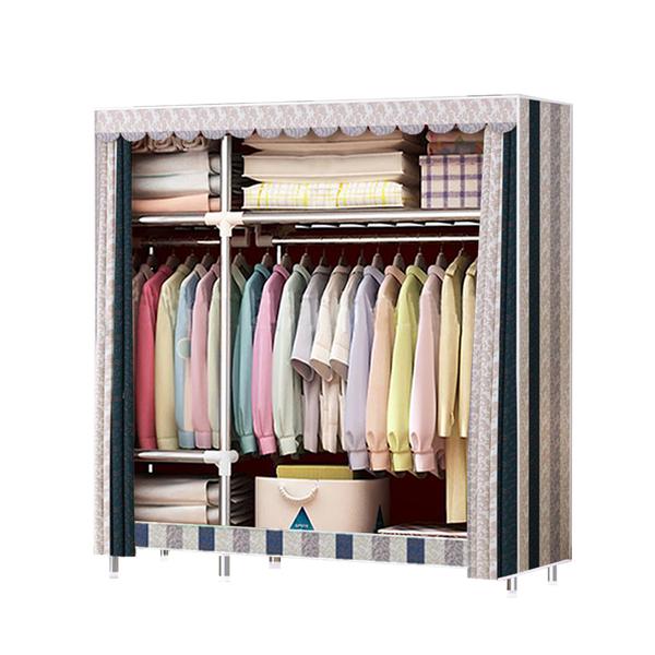 衣櫥/衣櫃 長125公分(窗簾款) DIY加粗2.5管徑耐重衣櫥 居家 外宿 收納 現貨 【VENCEDOR】