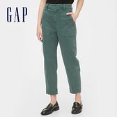 Gap 女裝 簡約純色九分休閒褲 542975-綠色