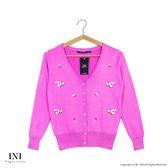 【INI】品味穿著、繡花色調百搭針織小外套.桃紅色