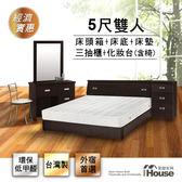 IHouse-經濟型房間組六件(床頭+床底+獨立筒+床頭櫃+化妝台+椅)-雙人5尺