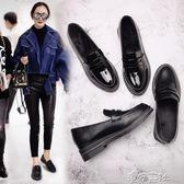 鞋女黑色平底工作鞋復古英倫學院風小皮鞋女鞋 港仔會社