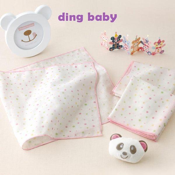 純棉紗布澡巾-粉點-3入/台灣製嬰兒寶寶用品浴巾洗臉巾 dingbaby C-4712928920235