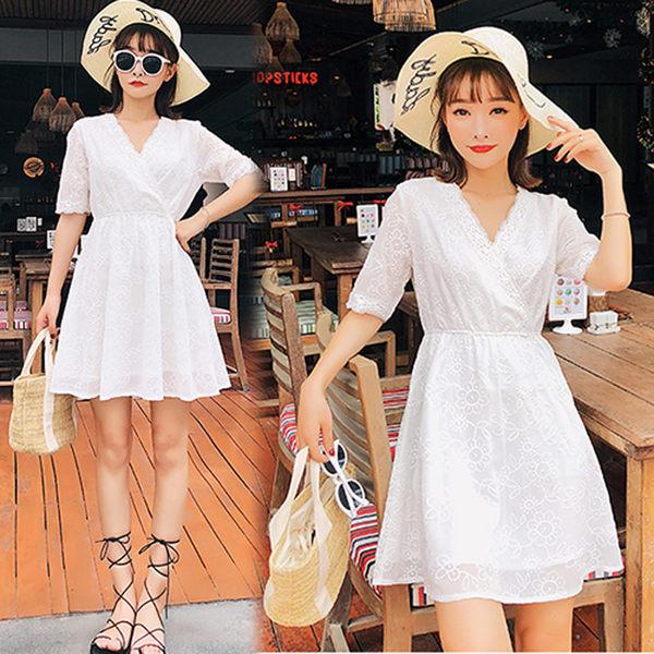 【韓國K.W.】(預購) M~L 純色簡約雪紡綉花蕾絲洋裝