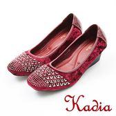 ★2017秋冬新品★kadia.優雅淑女鑲鑽方頭楔型鞋(7545-65紅)
