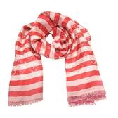 LOUIS VUITTON LV 路易威登 紅白條紋香檳桃粉Logo大圍巾 披巾 Storl 【BRAND OFF】