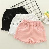 女童白色黑色夏季純棉破洞牛仔短褲兒童