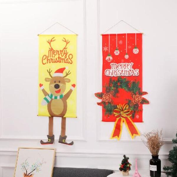 【BlueCat】聖誕節 超級長 老人精靈花環掛旗 掛布背景 旗幟