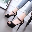 特惠 超高跟鞋防水臺細跟女性感夏季新款12cm百搭一字扣網紅涼鞋
