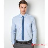 男士襯衫長袖素面直條 夢特嬌 淺藍色、吸濕排汗款