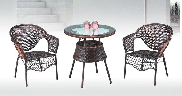 【南洋風休閒傢俱】戶外休閒桌椅系列-咖藤休閒圓桌椅組 戶外餐桌椅CX902-1 CX939-18)