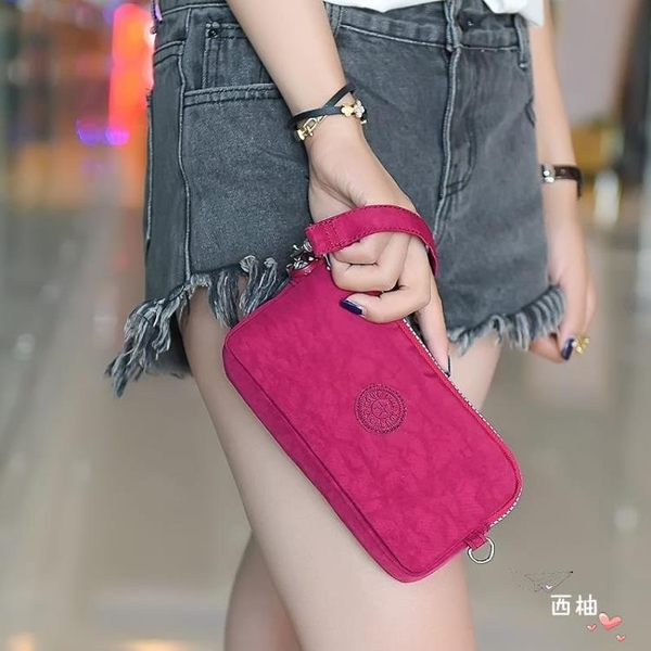 新款小帆布手包女手拿包布長夾錢包手機包鑰匙包長版尼龍零長夾錢包買菜 萊爾富免運