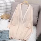 冰絲外套 冰絲針織開衫外搭薄款披肩空調衫外套女夏新款中長款防曬衣潮-Ballet朵朵