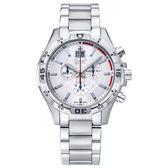 Ogival 瑞士愛其華  精銳戰將三眼計時石英腕錶-白/45mm