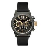 POLICE 雙縫線多功能三眼腕錶-黑色X槍色-15529JSU-02