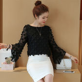 限時38折 韓系優雅雪紡衫蕾絲衫蝴蝶花小衫拼接透視網紗長袖上衣