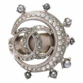 CHANEL 香奈兒 月亮珠珠鑲水鑽純銀戒指戒指 【BRAND OFF】