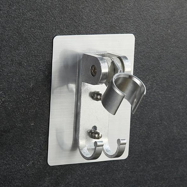 免打洞無痕太空鋁花灑架 帶雙勾 可調式蓮蓬頭架 多角度無痕掛架 浴室衛浴置物架【SV9860】BO雜貨