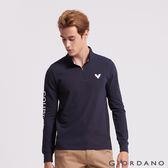 【GIORDANO】男裝立體刺繡撞色長袖POLO衫-01 標誌海軍藍
