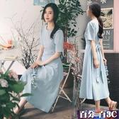 棉麻洋裝 小清新連身裙學生女夏2020新款韓版學生ins港味復古亞麻長裙 百分百