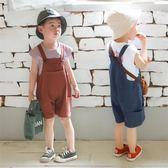 寶寶背帶褲夏薄款男女童闊腿褲兒童棉麻背帶短褲男孩連體褲中小童