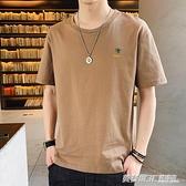 純棉男士短袖t恤夏季潮流汗衫男裝刺繡咖啡色上衣服2020新款. 英賽爾3C專賣店