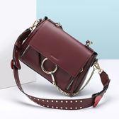 手提包-真皮時髦大方圓環鏈條女單肩包5色73rd24【巴黎精品】
