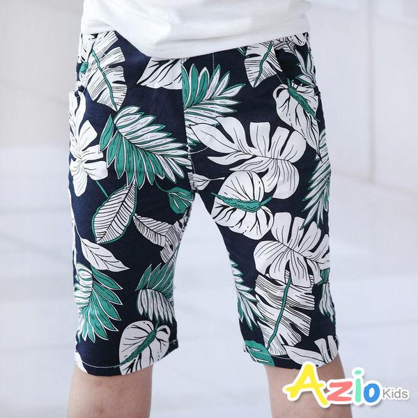Azio 男童 短褲 滿版熱帶椰葉印花鬆緊短褲(綠) Azio Kids 美國派 童裝