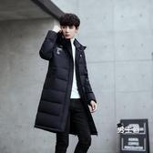 羽絨外套 冬季新款棉服男正韓連帽加厚中長版青年棉衣男加厚棉襖潮