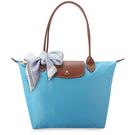 LONGCHAMP 長提把小型尼龍摺疊水餃包(蔚藍色-含帕巾)480111-807