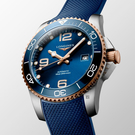 LONGINES 浪琴 深海征服者浪鬼陶瓷潛水機械錶-藍x玫瑰金/41mm(L37813989)