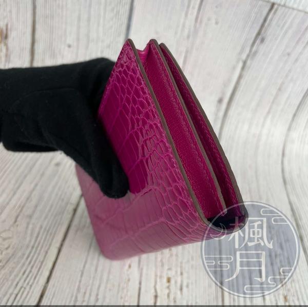 BRAND楓月 HERMES 愛馬仕 D刻 紫X金 桃紅色 紫紅色 方塊 亮面 鱷魚皮BEARN長夾 錢包 錢夾 皮夾