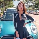泳衣 女廠家新款韓版大碼溫泉長袖泳衣連體裙式保守遮肚顯瘦泳裝【牛年大吉】