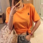 小心機性感露背上衣女夏裝新款學生網紅INS刺繡橘色短袖T恤潮