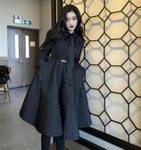 氣質收腰領口飄帶棉衣女新款潮冬季韓版寬松中長款小香風外套  俏女孩