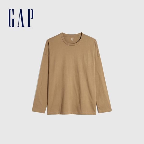 Gap男裝 簡約風格純色長袖T恤 660824-深卡其
